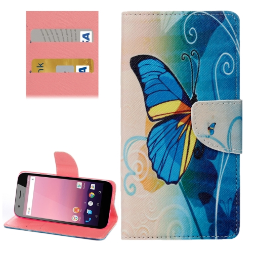 Buy For Google Pixel XL Half Blue Butterfly Pattern Horizontal Flip Leather Case with Holder & Card Slots & Wallet for $2.31 in SUNSKY store