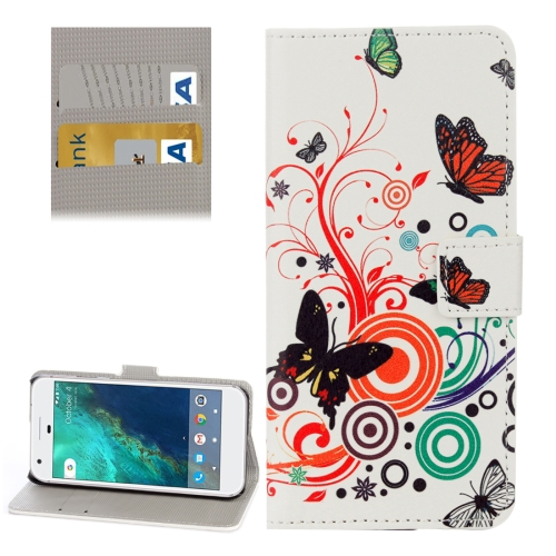 Buy For Google Pixel White Butterfly Pattern Leather Case with Holder & Card Slots & Wallet for $2.33 in SUNSKY store