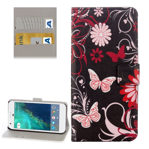 Buy For Google Pixel Black Butterfly Pattern Leather Case with Holder & Card Slots & Wallet for $2.33 in SUNSKY store