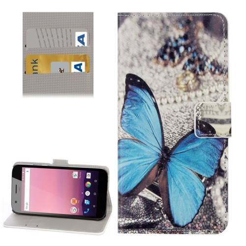 Buy For Google Pixel XL Blue Butterfly Pattern Leather Case with Holder & Card Slots & Wallet for $2.31 in SUNSKY store