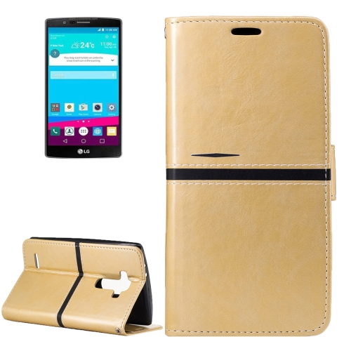 Buy For LG G4 Crazy Horse Texture PU Leather Horizontal Flip Leather Case with Holder & Card Slots & Wallet & Photo Frame & Lanyard, Gold for $2.76 in SUNSKY store
