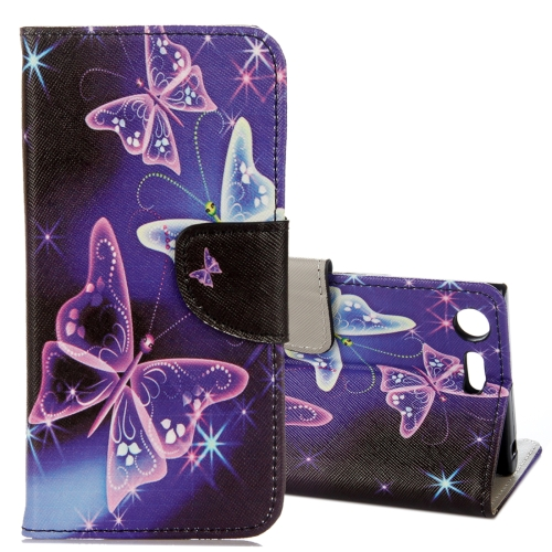 Buy For Sony Xperia XZ1 Compact Purple Crystal Butterflies Pattern Horizontal Flip Leather Case with Holder & Card Slots & Wallet for $2.42 in SUNSKY store