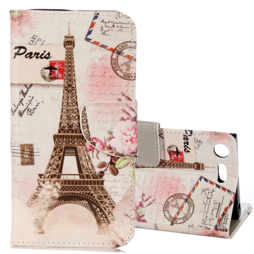 Buy For Sony Xperia XZ1 Compact Eiffel Tower Pattern Horizontal Flip Leather Case with Holder & Card Slots & Wallet for $2.42 in SUNSKY store