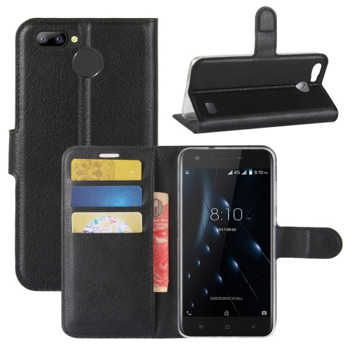 For Blackview A7 Pro Litchi Texture PU + TPU Horizontal Flip Leather Case With Holder & Card Slots & Wallet (Black)