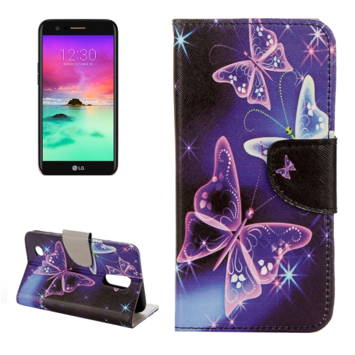 Buy For LG K10, 2017 Purple Crystal Butterflies Pattern Horizontal Flip Leather Case with Holder & Card Slots & Wallet for $2.28 in SUNSKY store