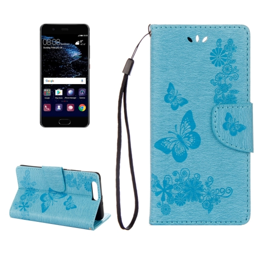 Buy Huawei P10 Plus Butterflies Embossing Horizontal Flip Leather Case with Holder & Card Slots & Wallet & Lanyard, Blue for $2.06 in SUNSKY store