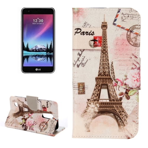 Buy For LG K4, 2017 Eiffel Tower Pattern Horizontal Flip Leather Case with Holder & Card Slots & Wallet for $2.15 in SUNSKY store