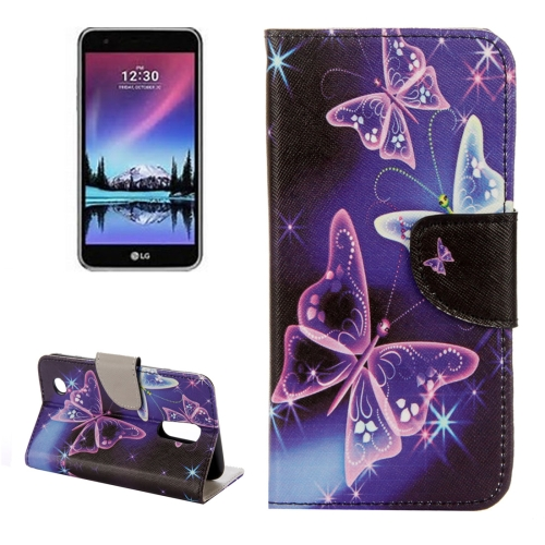 Buy For LG K4, 2017 Purple Crystal Butterflies Pattern Horizontal Flip Leather Case with Holder & Card Slots & Wallet for $2.27 in SUNSKY store