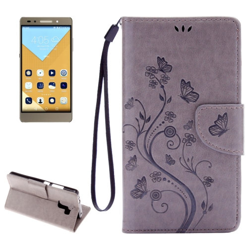 Buy Huawei Honor 7 Butterflies Embossing Horizontal Flip Leather Case with Holder & Card Slots & Wallet & Lanyard, Grey for $2.06 in SUNSKY store