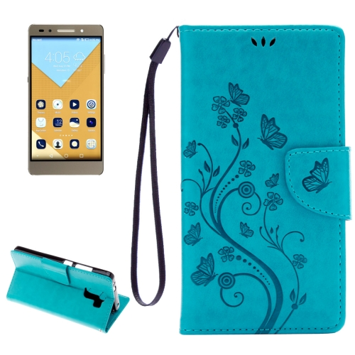 Buy Huawei Honor 7 Butterflies Embossing Horizontal Flip Leather Case with Holder & Card Slots & Wallet & Lanyard, Blue for $2.06 in SUNSKY store