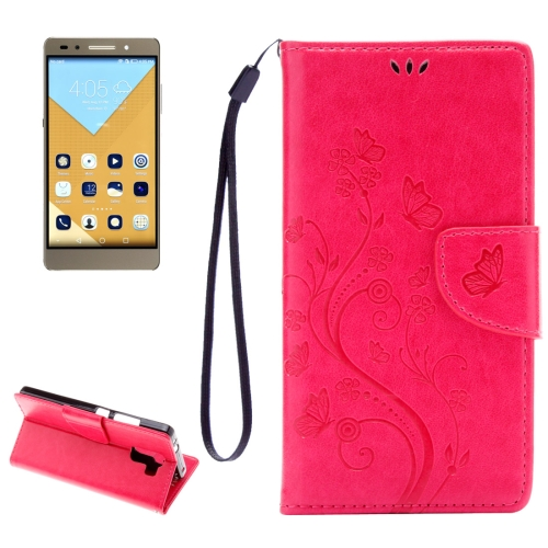 Huawei Honor 7 Butterflies Embossing Horizontal Flip Leather Case with Holder & Card Slots & Wallet & Lanyard, Magenta