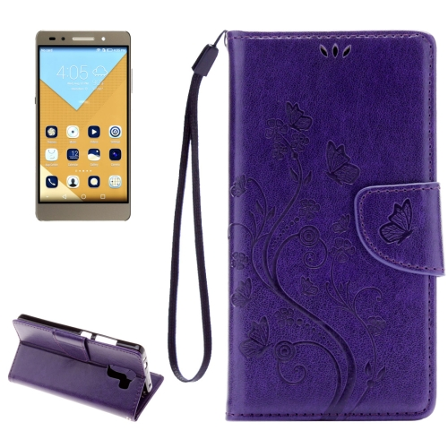 Buy Huawei Honor 7 Butterflies Embossing Horizontal Flip Leather Case with Holder & Card Slots & Wallet & Lanyard, Purple for $2.06 in SUNSKY store