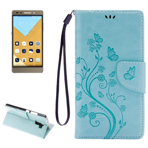 Buy Huawei Honor 7 Butterflies Embossing Horizontal Flip Leather Case with Holder & Card Slots & Wallet & Lanyard (Baby Blue) for $2.06 in SUNSKY store