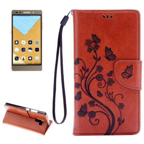 Buy Huawei Honor 7 Butterflies Embossing Horizontal Flip Leather Case with Holder & Card Slots & Wallet & Lanyard, Brown for $2.06 in SUNSKY store