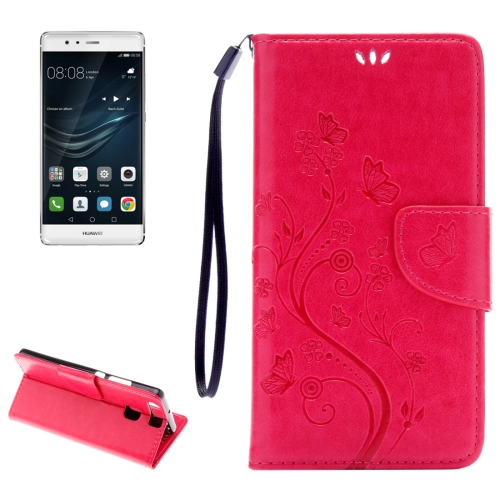Buy Huawei P9 Butterflies Embossing Horizontal Flip Leather Case with Holder & Card Slots & Wallet & Lanyard, Magenta for $2.06 in SUNSKY store