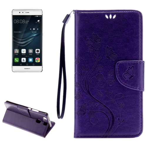 Buy Huawei P9 Butterflies Embossing Horizontal Flip Leather Case with Holder & Card Slots & Wallet & Lanyard, Purple for $2.06 in SUNSKY store