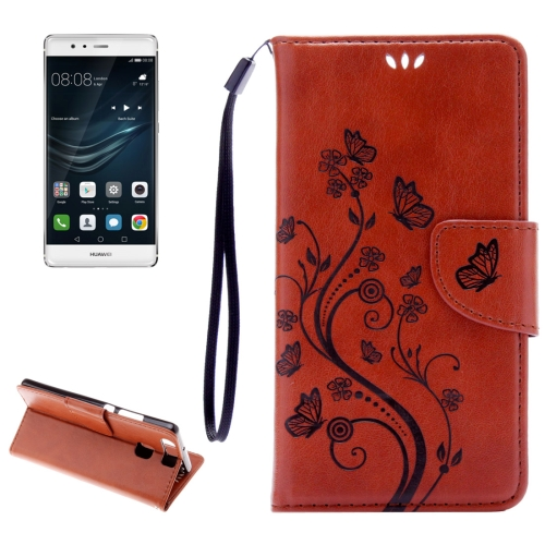 Buy Huawei P9 Butterflies Embossing Horizontal Flip Leather Case with Holder & Card Slots & Wallet & Lanyard, Brown for $2.06 in SUNSKY store