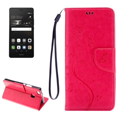 Buy Huawei P9 Lite Butterflies Embossing Horizontal Flip Leather Case with Holder & Card Slots & Wallet & Lanyard, Magenta for $2.15 in SUNSKY store