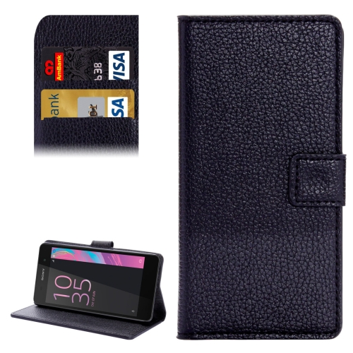 Buy For Sony Xperia E5 Solid Color Litchi Texture Horizontal Flip Leather Case with Holder & Card Slots & Wallet, Black for $2.31 in SUNSKY store