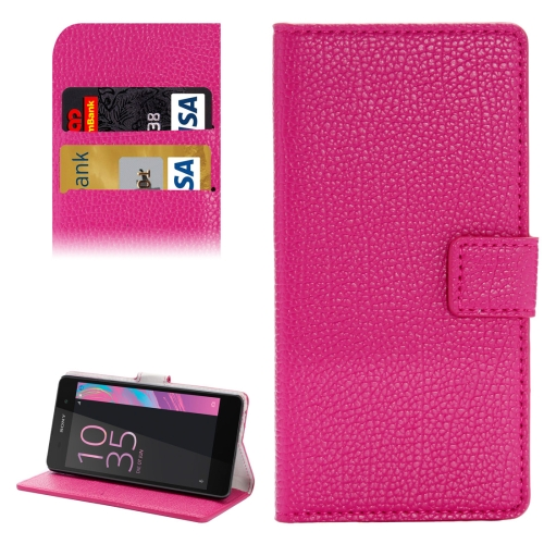 Buy For Sony Xperia E5 Solid Color Litchi Texture Horizontal Flip Leather Case with Holder & Card Slots & Wallet, Magenta for $2.31 in SUNSKY store