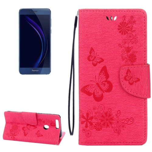 Buy Huawei Honor 8 Butterflies Embossing Horizontal Flip Leather Case with Holder & Card Slots & Wallet & Lanyard, Magenta for $2.17 in SUNSKY store