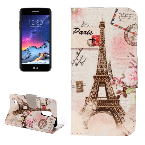 Buy For LG K8, 2017 Eiffel Tower Pattern Horizontal Flip Leather Case with Holder & Card Slots & Wallet for $2.28 in SUNSKY store