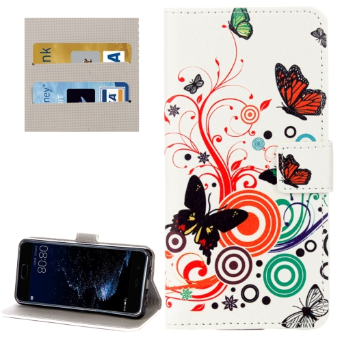 Buy Huawei P10 White Butterflies Love Flowers Pattern Horizontal Flip Leather Case with Holder & Card Slots & Wallet for $2.28 in SUNSKY store