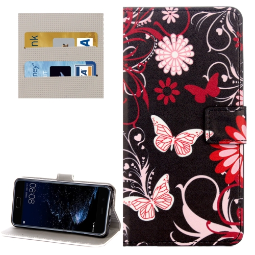 Buy Huawei P10 Black Butterflies Love Flowers Pattern Horizontal Flip Leather Case with Holder & Card Slots & Wallet for $2.28 in SUNSKY store