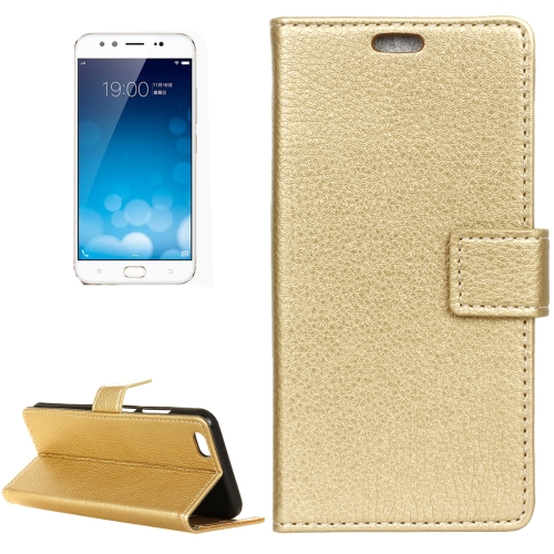 Vivo X9 Plus Litchi Texture Horizontal Flip Leather Case with Holder & Card Slots & Wallet & Photo Frame, Gold