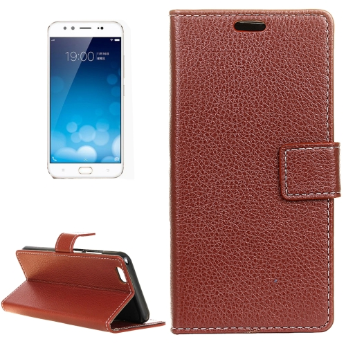 Buy Vivo X9 Plus Litchi Texture Horizontal Flip Leather Case with Holder & Card Slots & Wallet & Photo Frame, Brown for $2.97 in SUNSKY store
