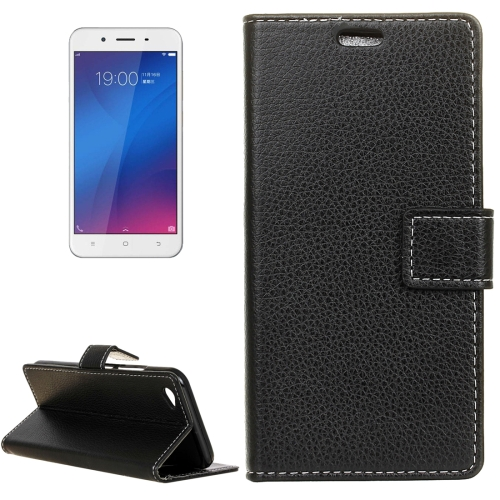 Buy Vivo Y66 Litchi Texture Horizontal Flip Leather Case with Holder & Card Slots & Wallet & Photo Frame, Black for $2.97 in SUNSKY store