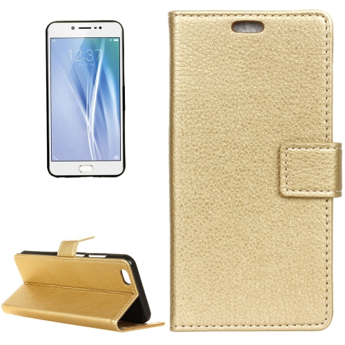 Buy Vivo V5 / Y67 Litchi Texture Horizontal Flip Leather Case with Holder & Card Slots & Wallet & Photo Frame, Gold for $2.97 in SUNSKY store