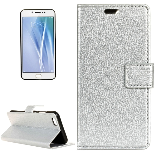 Buy Vivo V5 / Y67 Litchi Texture Horizontal Flip Leather Case with Holder & Card Slots & Wallet & Photo Frame, Silver for $2.97 in SUNSKY store