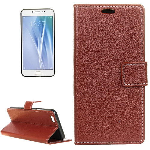 Buy Vivo V5 / Y67 Litchi Texture Horizontal Flip Leather Case with Holder & Card Slots & Wallet & Photo Frame, Brown for $2.97 in SUNSKY store