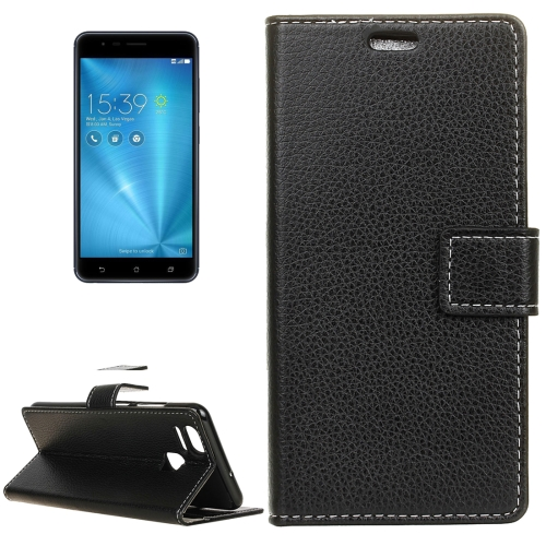 Buy For ASUS ZenFone 3 Zoom / ZE553KL Litchi Texture Horizontal Flip Leather Case with Holder & Card Slots & Wallet & Photo Frame, Black for $2.97 in SUNSKY store