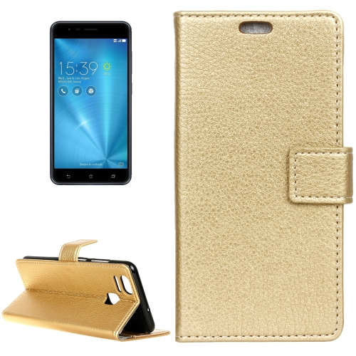 Buy For ASUS ZenFone 3 Zoom / ZE553KL Litchi Texture Horizontal Flip Leather Case with Holder & Card Slots & Wallet & Photo Frame, Gold for $2.97 in SUNSKY store