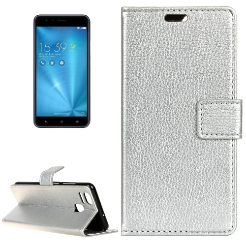 Buy For ASUS ZenFone 3 Zoom / ZE553KL Litchi Texture Horizontal Flip Leather Case with Holder & Card Slots & Wallet & Photo Frame, Silver for $2.97 in SUNSKY store