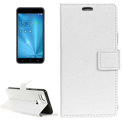 Buy For ASUS ZenFone 3 Zoom / ZE553KL Litchi Texture Horizontal Flip Leather Case with Holder & Card Slots & Wallet & Photo Frame, White for $2.97 in SUNSKY store