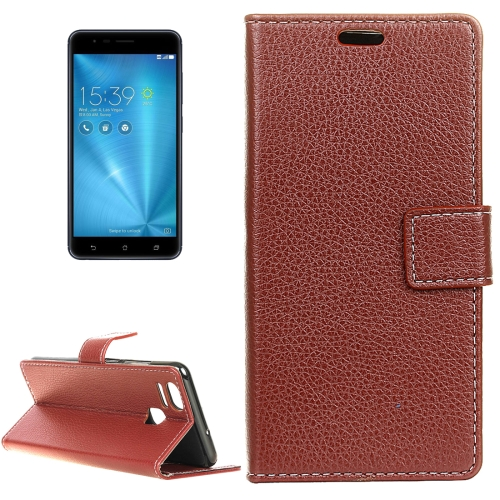 Buy For ASUS ZenFone 3 Zoom / ZE553KL Litchi Texture Horizontal Flip Leather Case with Holder & Card Slots & Wallet & Photo Frame, Brown for $2.97 in SUNSKY store