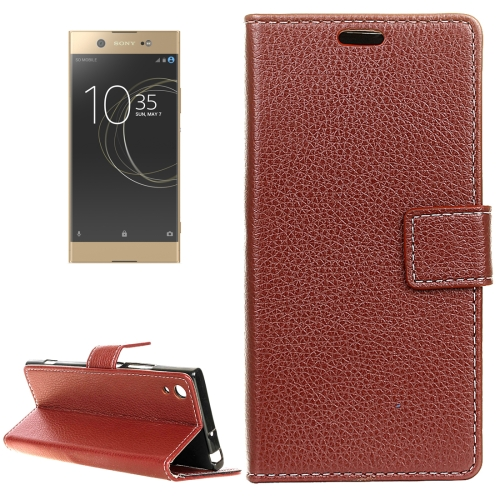 Buy For Sony Xperia XA1 Ultra Litchi Texture Horizontal Flip Leather Case with Holder & Card Slots & Wallet & Photo Frame, Brown for $3.03 in SUNSKY store