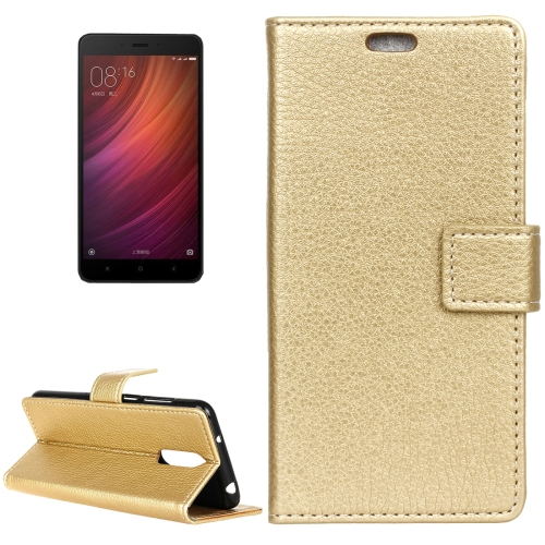Buy Xiaomi Redmi Note 4X Litchi Texture Horizontal Flip Leather Case with Holder & Card Slots & Wallet & Photo Frame, Gold for $2.97 in SUNSKY store
