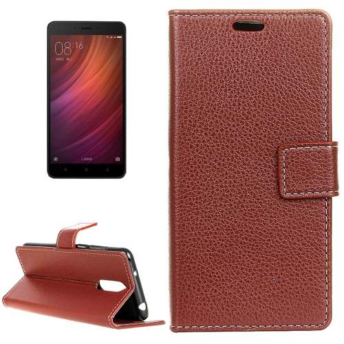 Buy Xiaomi Redmi Note 4X Litchi Texture Horizontal Flip Leather Case with Holder & Card Slots & Wallet & Photo Frame, Brown for $2.97 in SUNSKY store