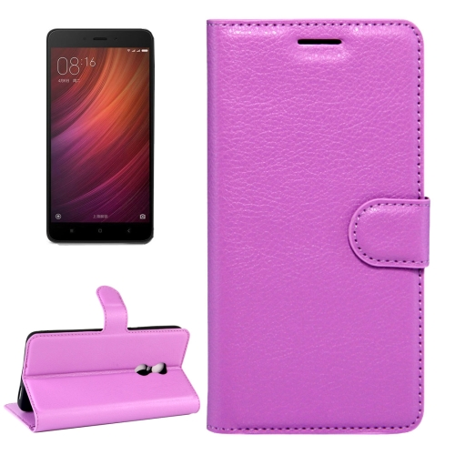 Buy Xiaomi Redmi Note 4X Litchi Texture Horizontal Flip Leather Case with Magnetic Buckle & Holder & Card Slots & Wallet, Purple for $2.32 in SUNSKY store