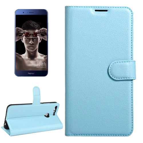 Buy Huawei Honor V9 / V8 Pro Litchi Texture Horizontal Flip Leather Case with Magnetic Buckle & Holder & Card Slots & Wallet, Blue for $2.19 in SUNSKY store