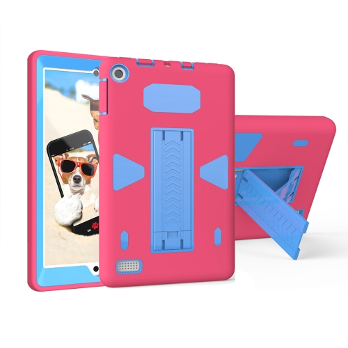 Buy For Amazon Kindle Fire 7, 2017 PC+Silicone Shockproof Protective Back Cover Case With Holder (Magenta + Blue) for $6.85 in SUNSKY store