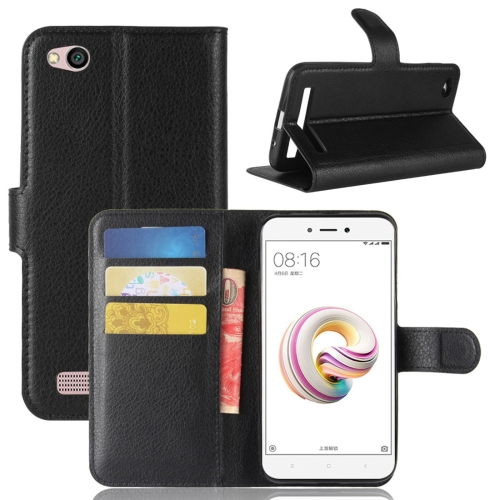 Buy Xiaomi Redmi 5A Litchi Texture Horizontal Flip Leather Case with Holder & Card Slots & Wallet, Black for $2.42 in SUNSKY store