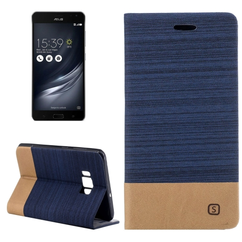 Buy Asus ZenFone AR / ZS571KL Canvas Texture PU + TPU Horizontal Flip Leather Case with Holder & Card Slots (Dark Blue) for $2.68 in SUNSKY store