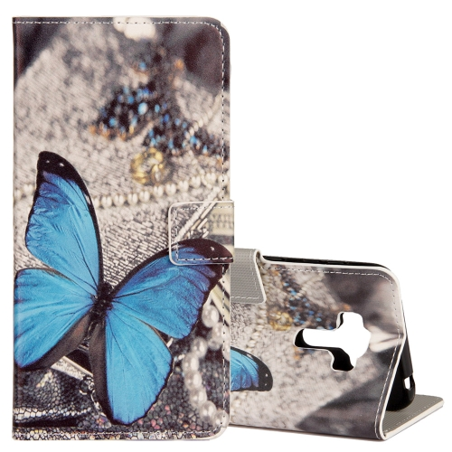 Buy For Asus ZenFone 4 Selfie Pro ZD552KL Blue Butterfly Pattern Horizontal Flip Leather Case with Holder & Card Slots & Wallet for $2.41 in SUNSKY store