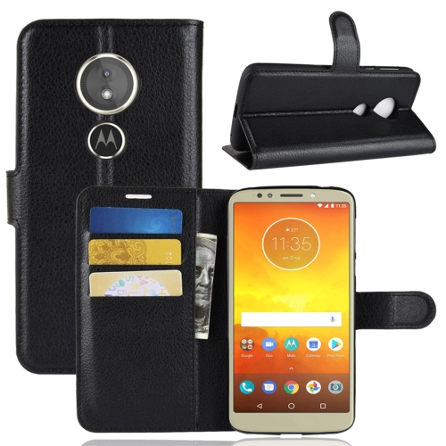 For Motorola Moto E5 Litchi Texture Horizontal Flip Leather Case with Wallet & Holder & Card Slots(Black)