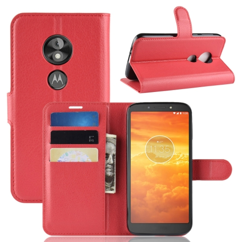 Litchi Texture Horizontal Flip Leather Case for Motorola Moto E5 Play Go, with Wallet & Holder & Card Slots (Red)